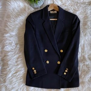 Vintage navy double breasted blazer, gold buttons